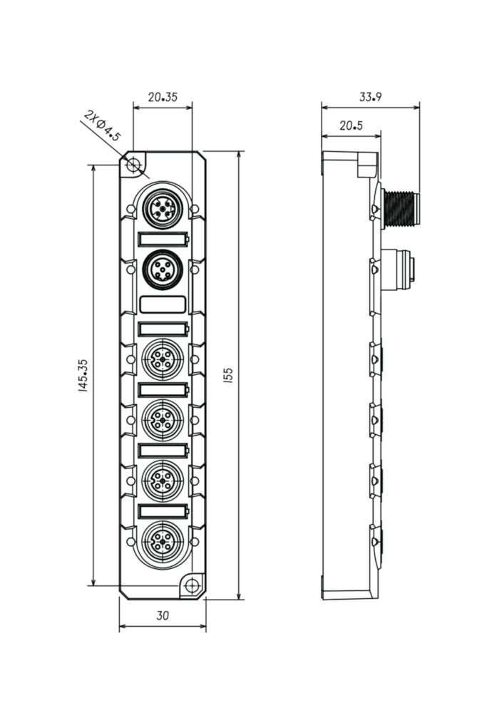 Extension module 8DI PNP M12 - 2